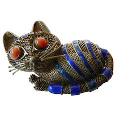 """Cat"" pin-silver with enamel"