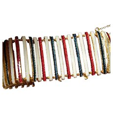 Enameled -slatted bracelet