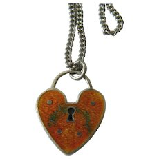 Mexican silver heart-lock medallion with chain