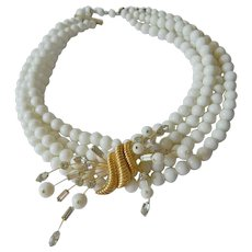 White beads-medallion Marvella necklace