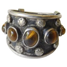 Vintage Mexican silver-tigers eye ring