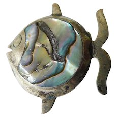 Mexico-sterling fish pin with abalone