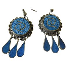 Gorgeous sterling lapis earrings- Mexico