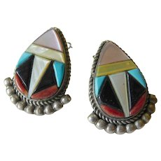 Zuni inlay earrings-clips