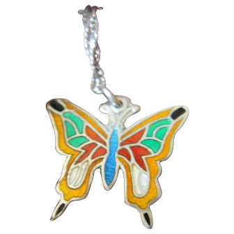 Enameled sterling Butterfly pendant with chain-Mexico