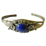 Beautiful hand tooled sterling and lapis bracelet