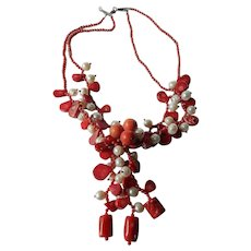 Coral-pearls- show piece necklace