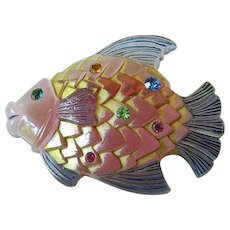 Jeweled-enamel fish pin