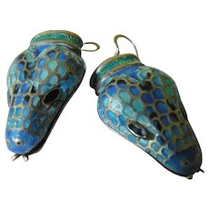 Fabulous silver-enameled snake earrings-Mexico