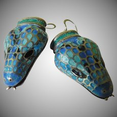 Fabulous silver-enameled snake earrings-Mexico-SALE!
