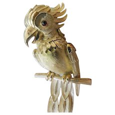 Crown Trifari exotic bird pin
