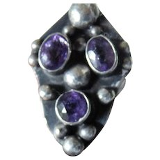 Beautiful hand crafted sterling ring-amethyst stones-Mexico