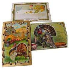 Three vintage post cards-Thanksgiving theme