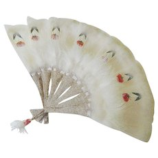 Feather-Hand painted fan