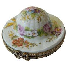 "France-Hand painted ""Hat"" porcelain trinket box"