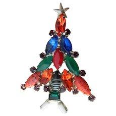 Glass stones Christmas tree pin