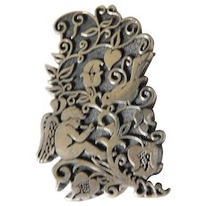 Intricate sterling pin -Mexico