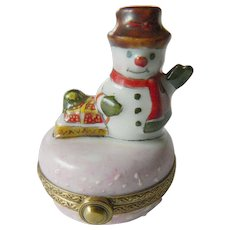 Snowman Limoges trinket box
