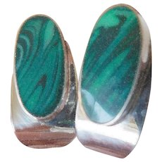 Amazing sterling -malachite Mexico earrings