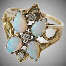 Fire opals-diamonds-14k. gold ring