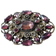 Vintage glass stones brooch