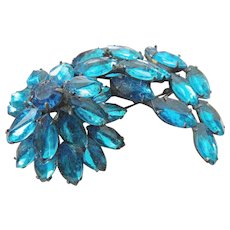 Large swirling glass stone pin-1940's