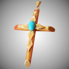 Greek cross-18k. gold turquoise stone