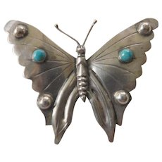 Large-Mexican silver/turquoise butterfly pin