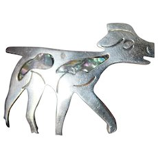 Mexican sterling-abalone Dog pin