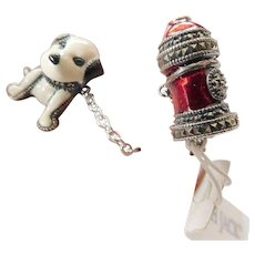 Judith Jack sterling-marcasite dog & fireplug enameled pin