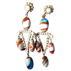 Colorful glass stones dangle earrings