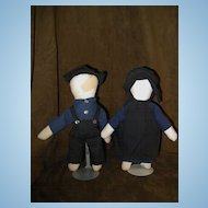 """Pair of Mid 1900's """"AMISH"""" No Face Dolls 11"""""""