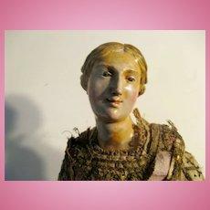 "NEAPOLITAN Painted Terracotta And Wood CRECHE Figure 20"""