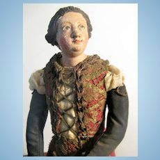 "NEAPOLITAN Painted Terracotta And Wood CRECHE Female Figure 16"""