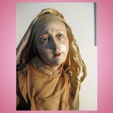 "NEAPOLITAN Painted Terracotta And Wood CRECHE Nun Figure 25"""
