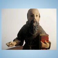 NEAPOLITAN Painted Wood and Gesso Saint Figure