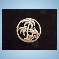 Uncas Sterling Art Deco Pin with Palm Trees and Birds