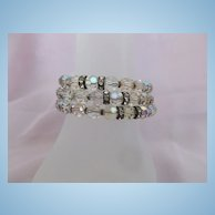 1940's Crystal Coil Bracelet with Rhinestones