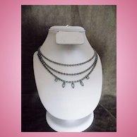 Vintage Hong Kong 3 Tier Blue Rhinestone Necklace