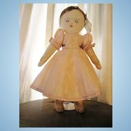 "Rare Antique Rag Doll 14"" With Real Hair"