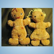 2 Vintage Knickerbocker Gingerbread Dolls 13""