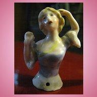 """German Miniature Art Deco Flapper Half Doll 2 1/4"""""""