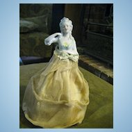 "Antique German ""Marie Antoinette"" Half Doll"" on Silkened Cage"