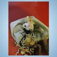 "German Miniature ""Bride"" Pincushion/Half Doll with Dress"
