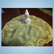 "German Miniature ""Bride"" Pincushion/Half Doll with Lace Dress"