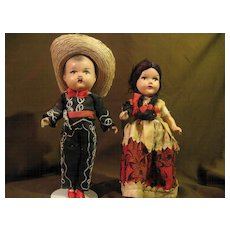 """Pair of Mexican Composition 1940's-50's Doll 9"""""""