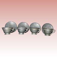 Antique Metal Tea Cups and Saucers