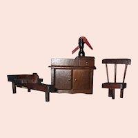 Vintage Miniature Dollhouse Wood Colonial Furniture