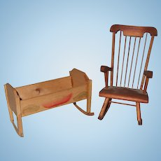 Vintage Miniature Rocker and Cradle