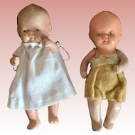 Pair of Painted Bisque, Japanese Babies